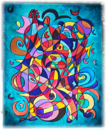 Music, Magic & Love - Original Symbol Painting by Starfields