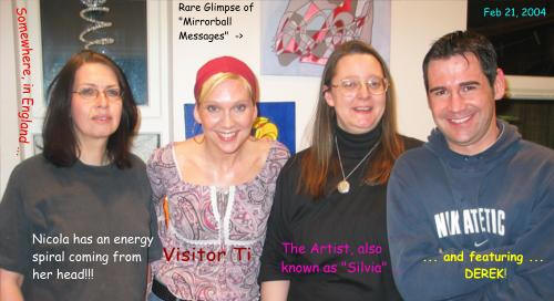Nicola Quinn, Ti, Silvia Hartmann, Derek Baker at an art exhibition