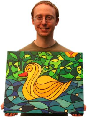 New owner Alex Kent plus The Yellow Duck painting by Silvia Hartmann