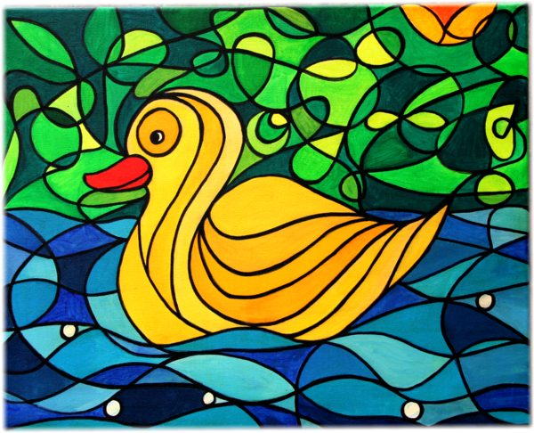 Alex's Yellow Duck - The Yellow Duck painting, acrylics on canvas, Silvia Hartmann 2005/6