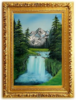 Bob Ross Tribute Painting Framed - Valley Waterfall by SFX
