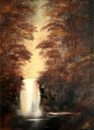 Bob Ross Tribute Oil Painting Sepia Waterfall by SFX