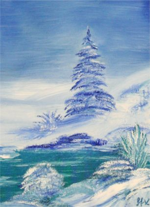 Bob Ross Tribute Oil Painting - Winter Landscape with Xmas Tree by StarFields