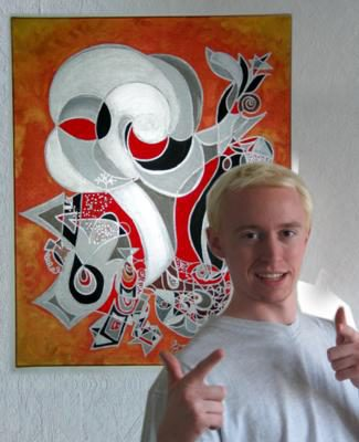 Man & Machine painting featuring blond Alex in 2004