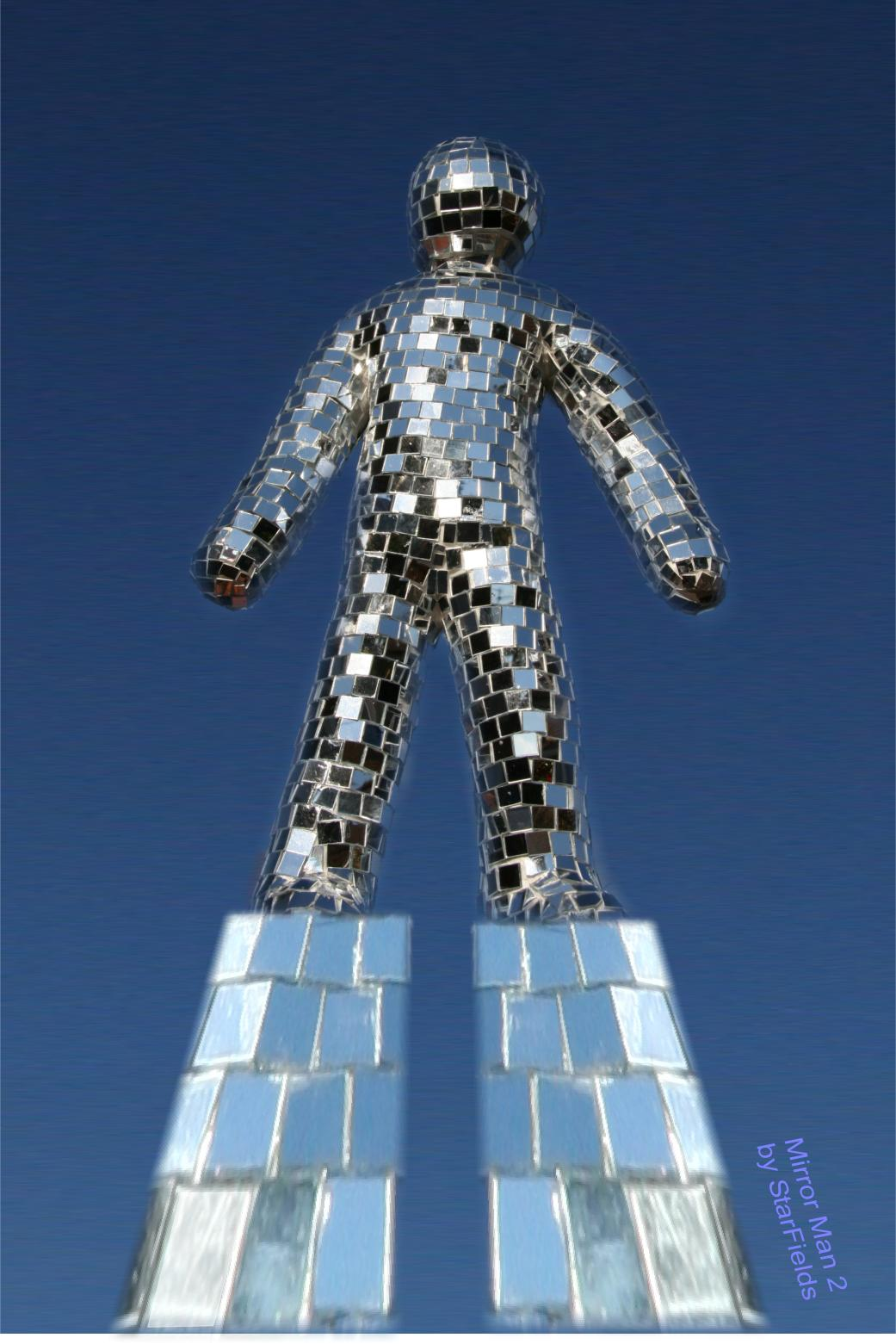 Mirror Man 2 Sculpture by Silvia Hartmann